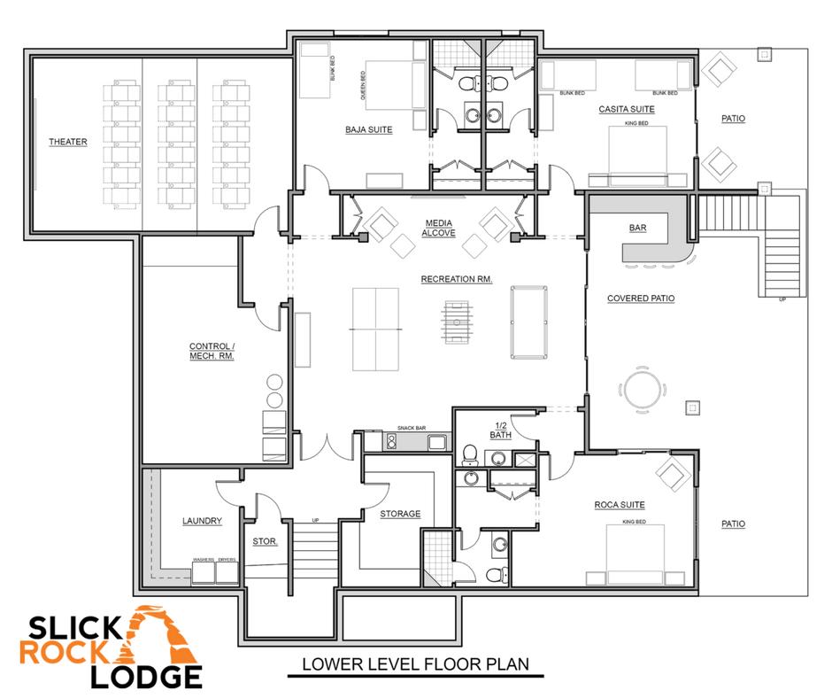 Slick Rock Family Lodge Lower Level Floor Plans
