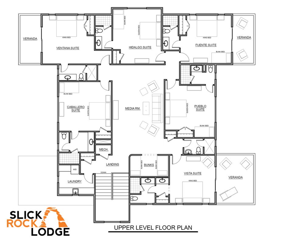 Slick Rock Family Lodge Upper Level Floor Plans